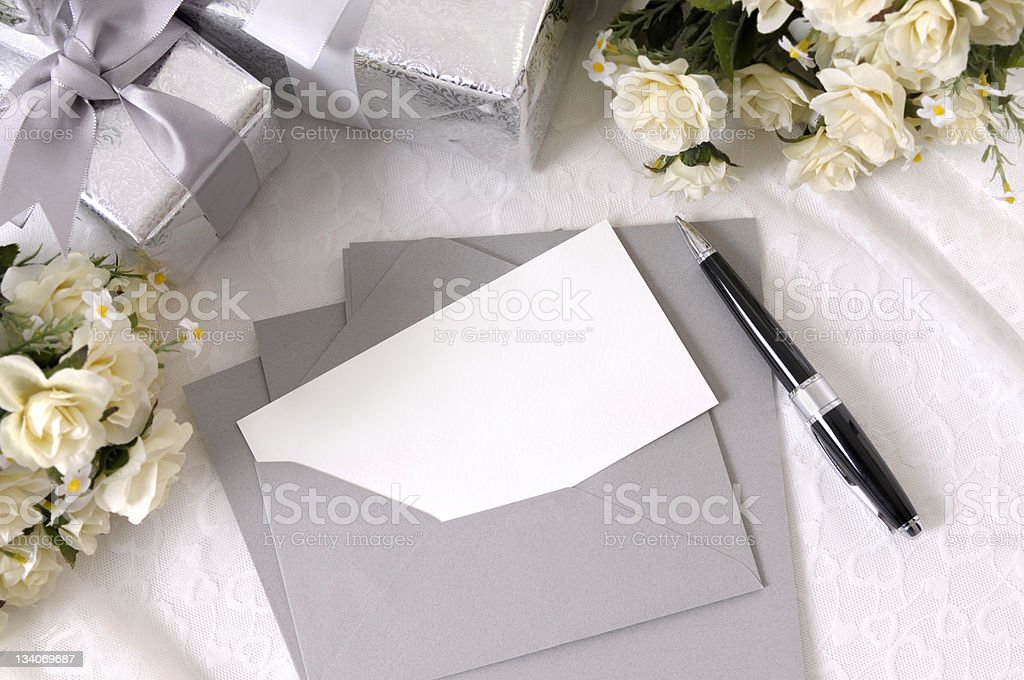 Wedding gifts with writing paper stock photo