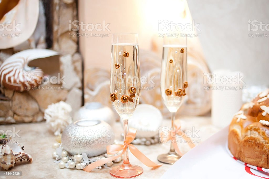 Wedding glasses of champagne on table stock photo