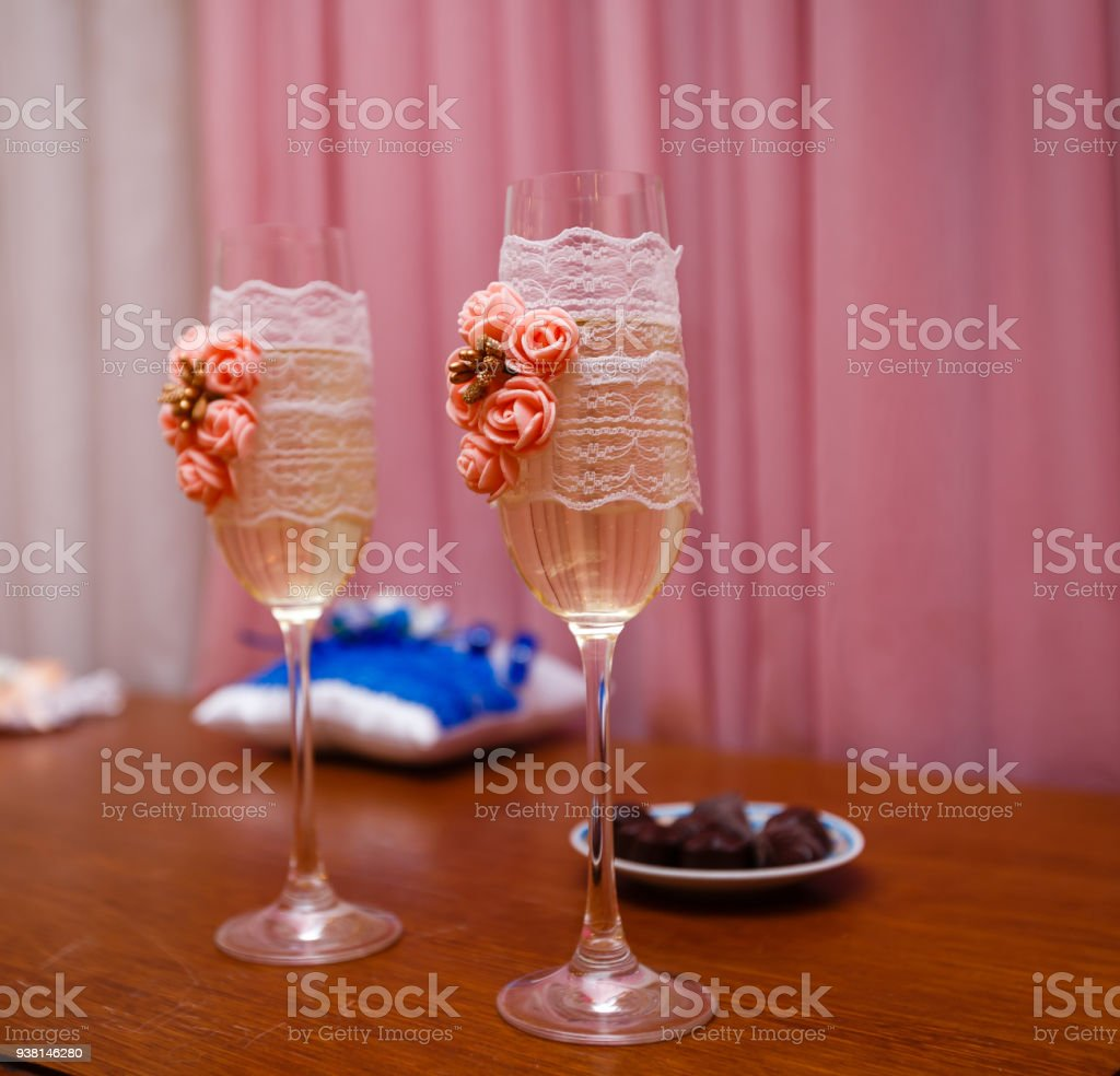 Wedding Glasses On The Table Stock Photo More Pictures Of