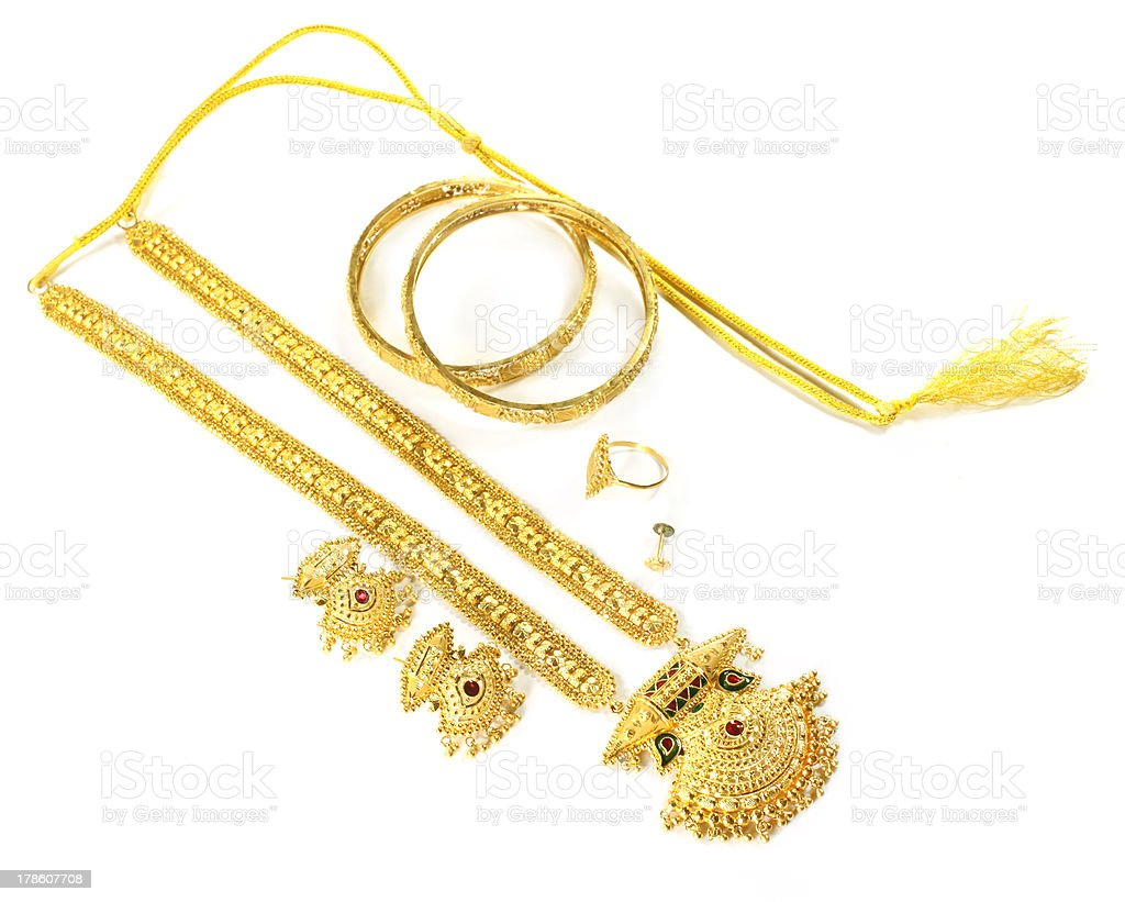 Wedding gold jewelry for Indian bride royalty-free stock photo