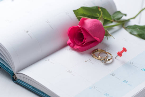 Wedding gold rings and pin on calender. stock photo