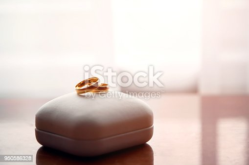 istock Wedding gold rings lie on a box 950586328