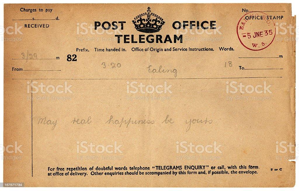 Wedding good wishes telegram, 1935 stock photo