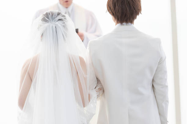 Wedding Groom and bride's back view stock photo