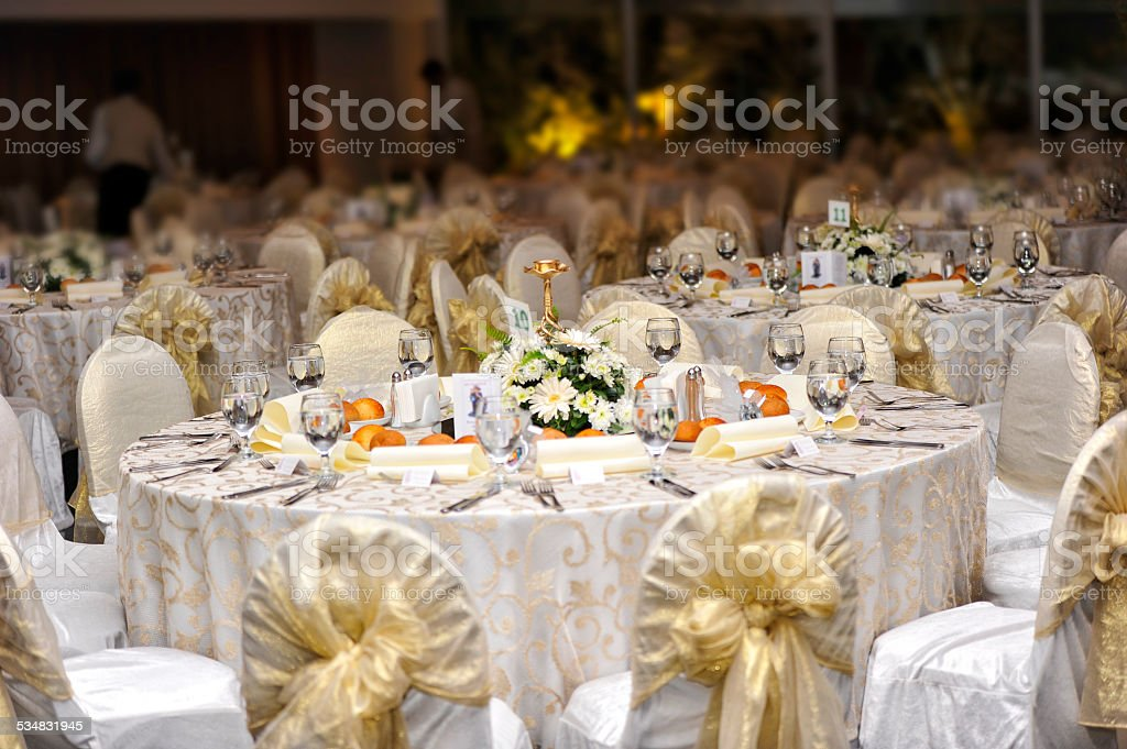 Wedding guest table stock photo