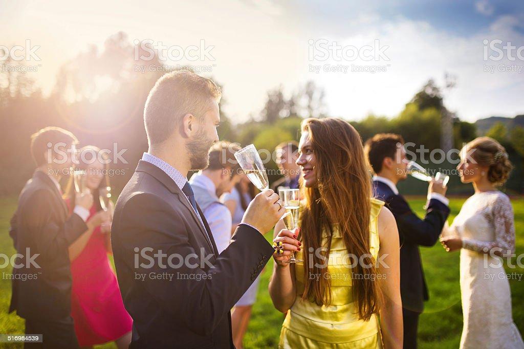 Convidados do casamento brindando - foto de acervo