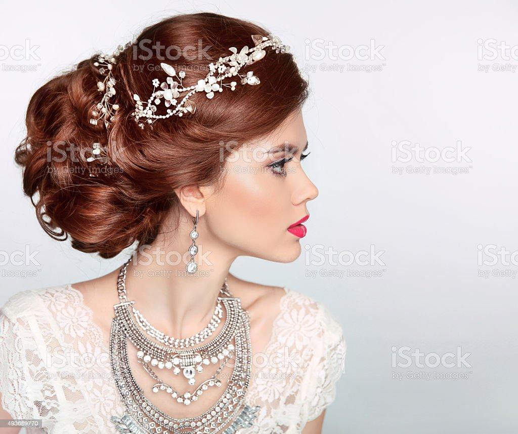 Hochzeit Frisur Schöne Mode Model Braut Mädchen Portrait Stock