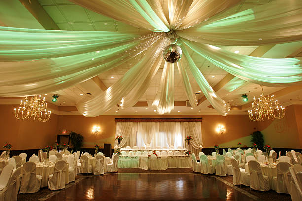 wedding hall interior - dance floor stock photos and pictures