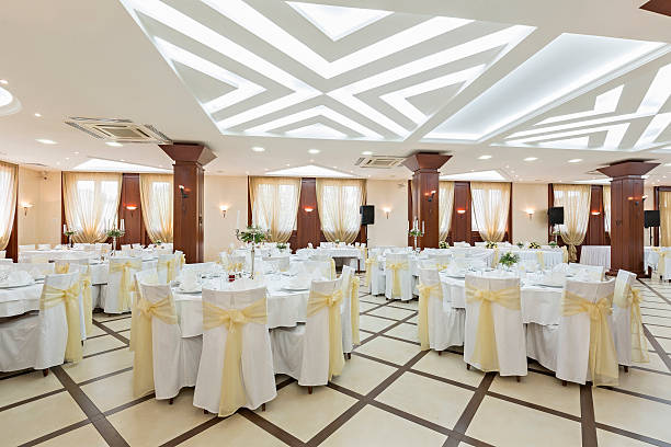 Wedding hall or other function facility set for fine dining stock photo