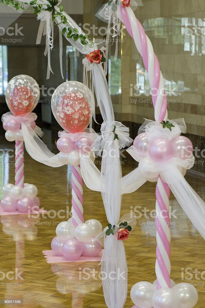 Wedding hall. Ornaments from balloons. stock photo