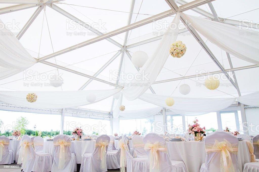 wedding hall stock photo