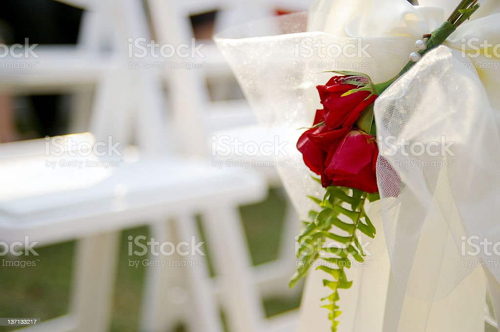 A wedding held outdoors with red roses royalty-free stock photo