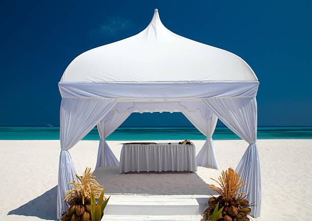 wedding hut at the beach stock photo