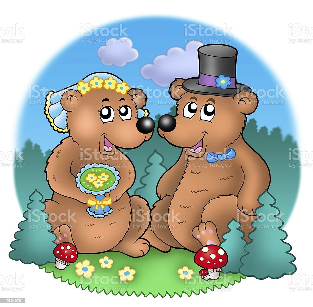 Wedding image with bears on meadow stock photo