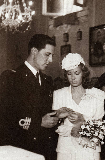 wedding in 1941.black and white. - 1940s style stock photos and pictures