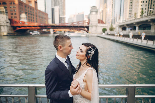 Wedding in a city stock photo