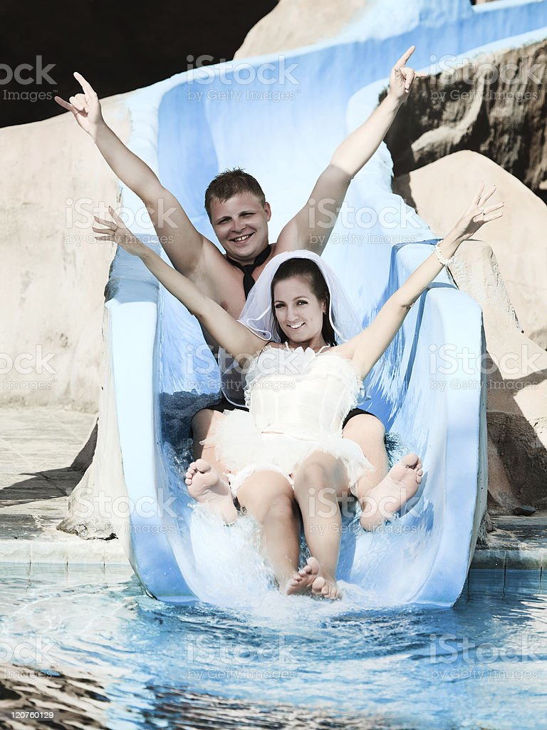 Wedding in water park royalty-free stock photo