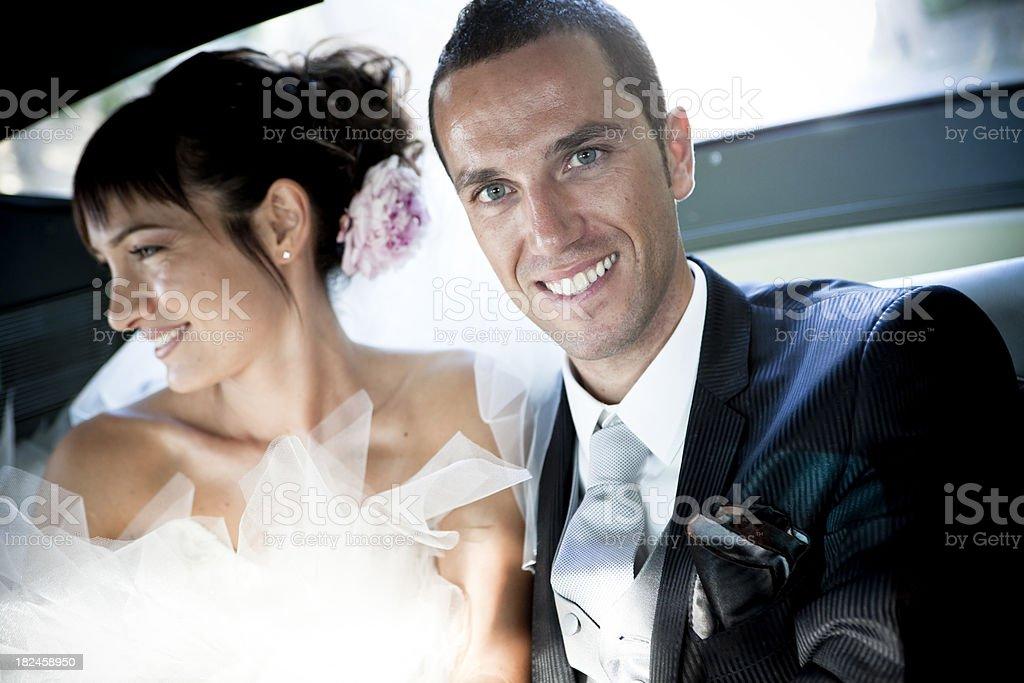 Casamento no car foto royalty-free