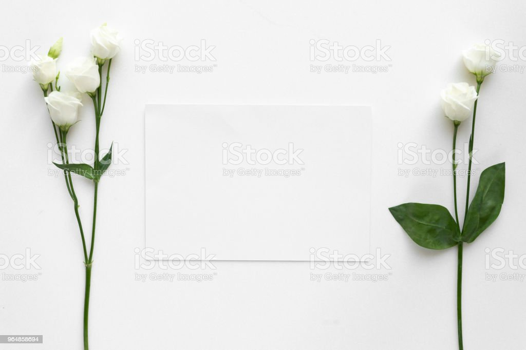 Wedding invitation card with roses, on white marble. Top view. royalty-free stock photo