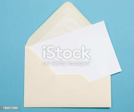 Envelope on blue background