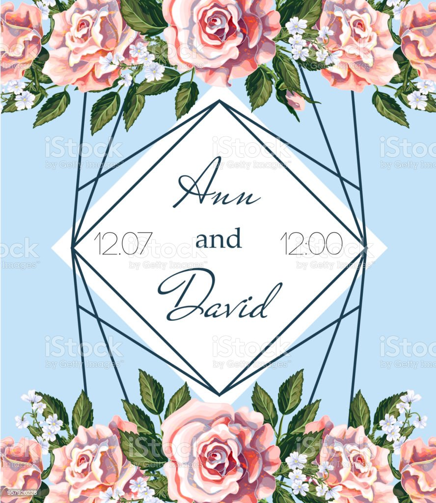 Wedding invitation of tea roses bouquet, their buds and leaves. Vector illustration. stock photo