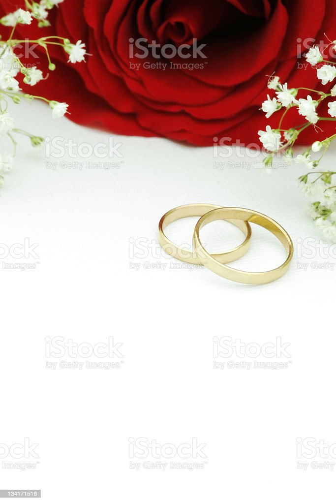 Wedding Invitation With Gold Rings And Red Rose Royalty Free Stock Photo