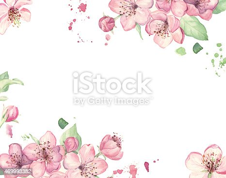 istock Wedding invitation with watercolor pink flowers 469993382