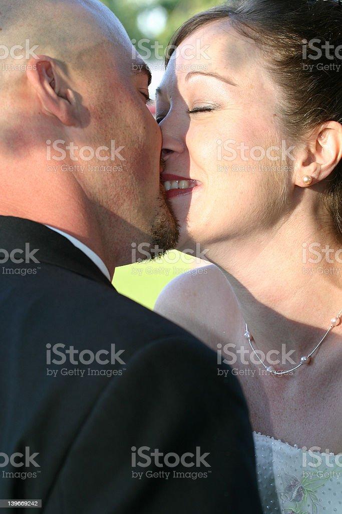 Wedding Kiss The Bride stock photo