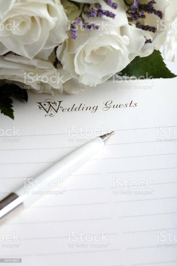 Wedding List and Flowers stock photo