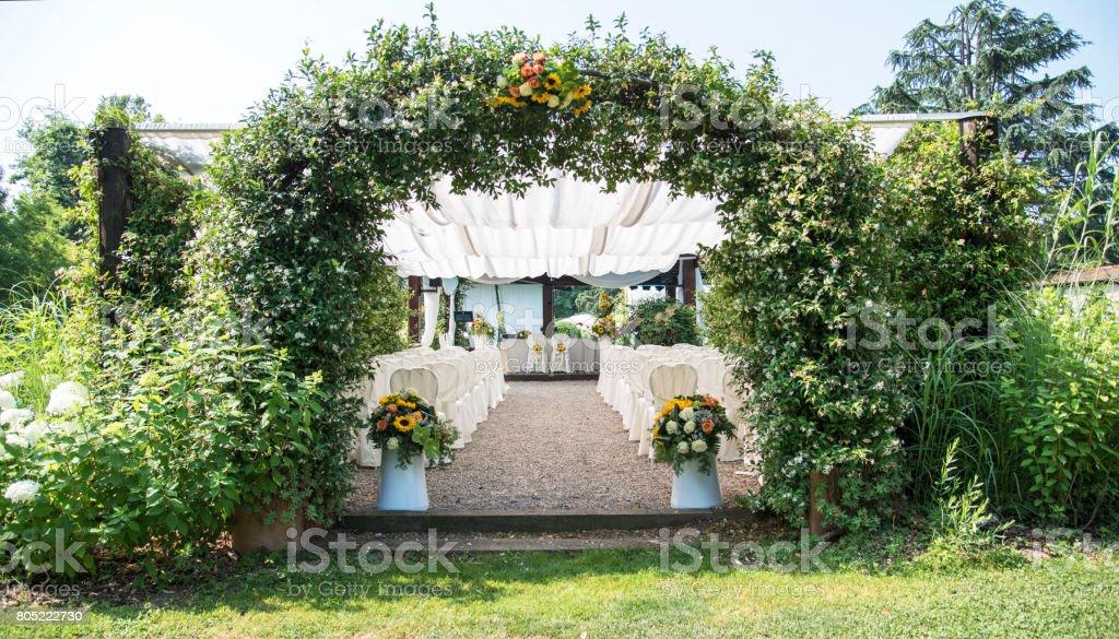 Wedding location - flower entrance stock photo