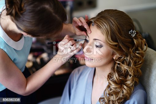 istock Wedding makeup artist making a make up for bride 836380338