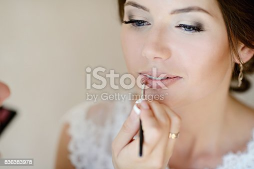 istock Wedding makeup artist making a make up for bride 836383978
