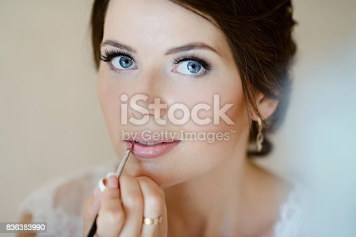 istock Wedding makeup artist making a make up for bride 836383990