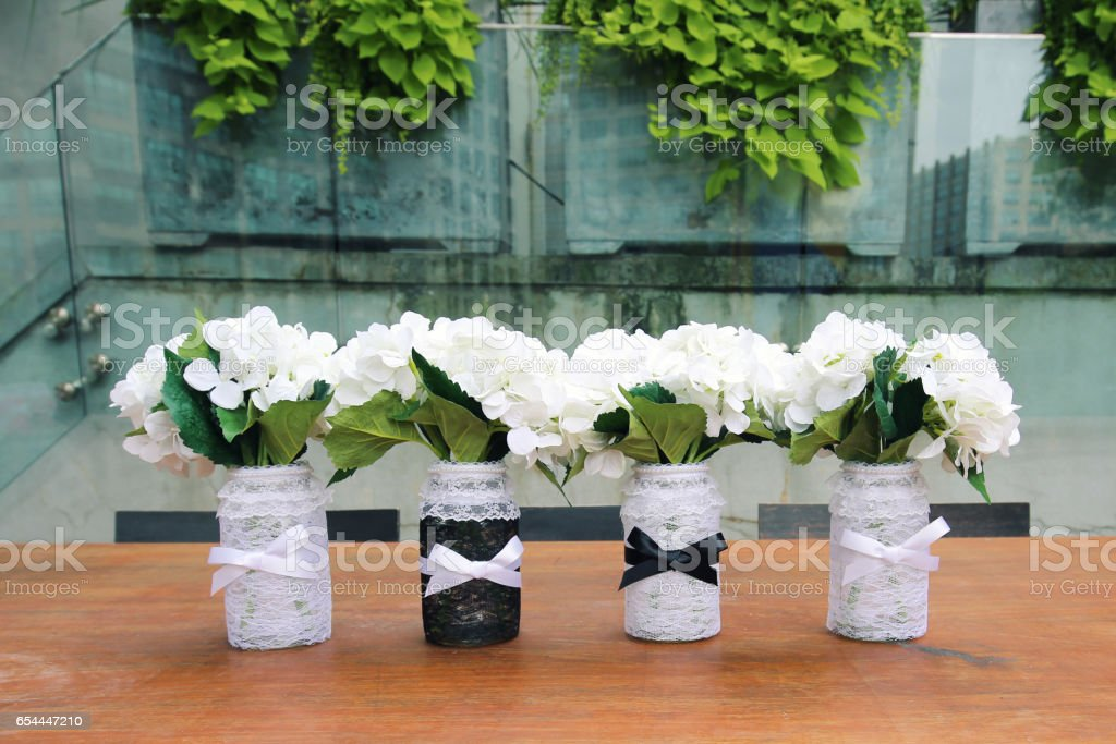 Wedding Mason Jars stock photo