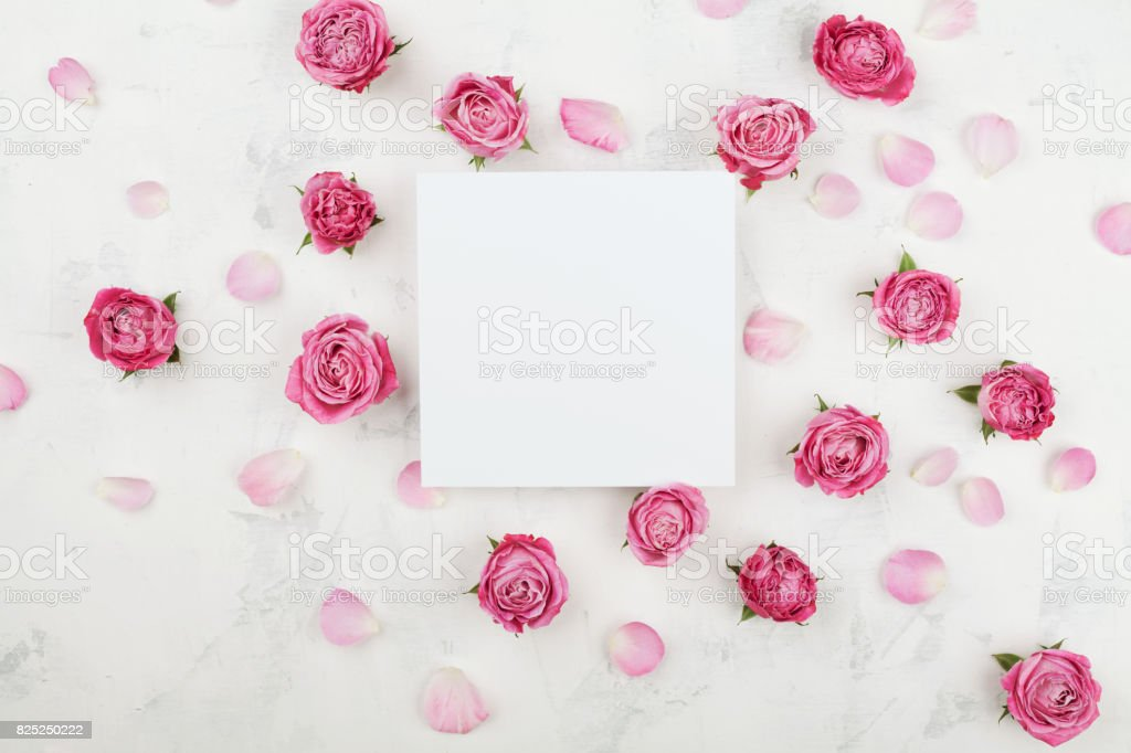 Wedding mockup with white paper list pink rose flowers and petals wedding mockup with white paper list pink rose flowers and petals beautiful floral pattern mightylinksfo Image collections
