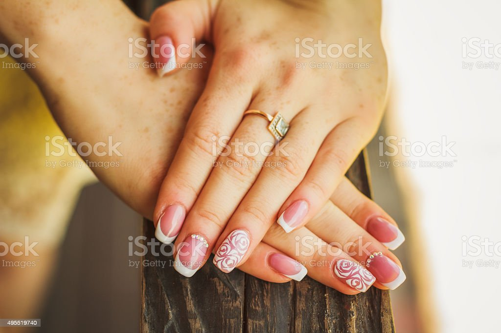 Wedding nail art with roses stock photo