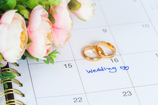 Wedding Note On A Calendar Sets A Reminder Stock Photo - Download Image Now