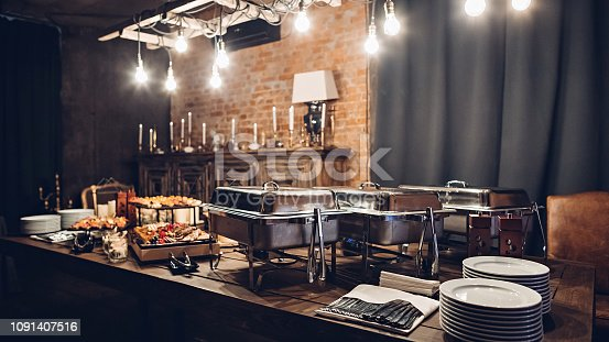 istock Wedding or other event catering food concept 1091407516