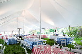 wedding or special event tables set up for an outdoor barbecue with red and blue checkered table clothes under an event tent - wedding table series