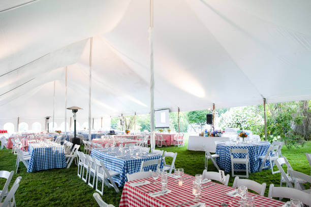 wedding or special event tables set up for an outdoor barbecue with red and blue checkered table clothes under an event tent wedding or special event tables set up for an outdoor barbecue with red and blue checkered table clothes under an event tent - wedding table series tent stock pictures, royalty-free photos & images
