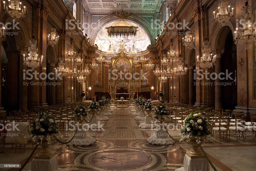 wedding ornament in church inside royalty-free stock photo