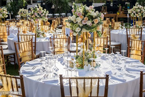 istock Wedding outdoor table set up. Beautiful garden wedding venue 1147056691