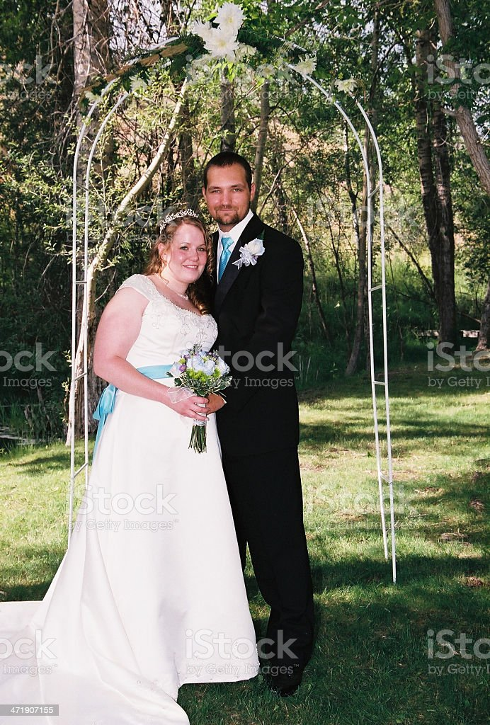 Wedding outdoors in the summer stock photo