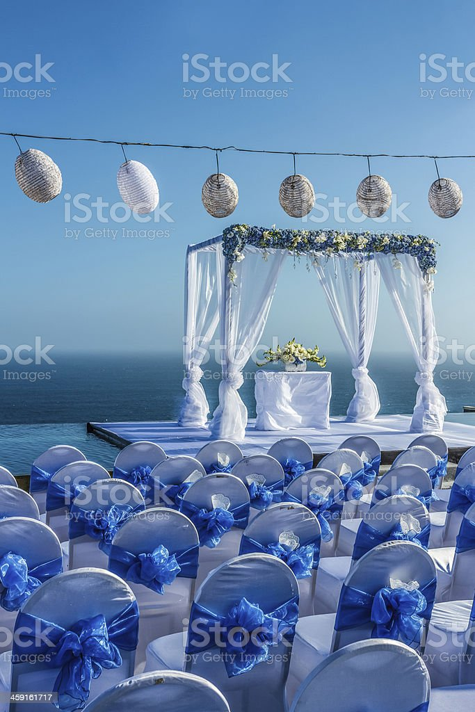 wedding party in blue and white theme stock photo