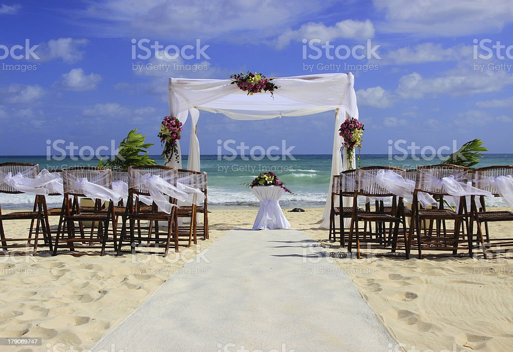 Wedding party on sandy beach stock photo
