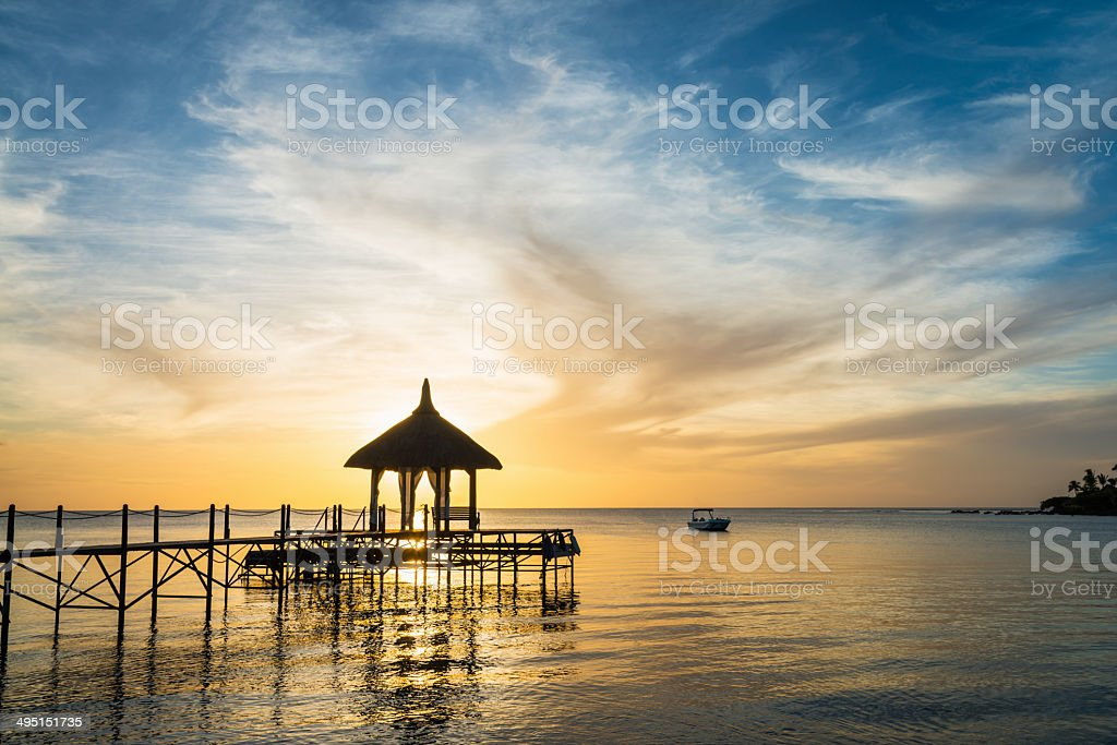 Wedding Pavillion Jetty Mauritius Romantic Sunset stock photo