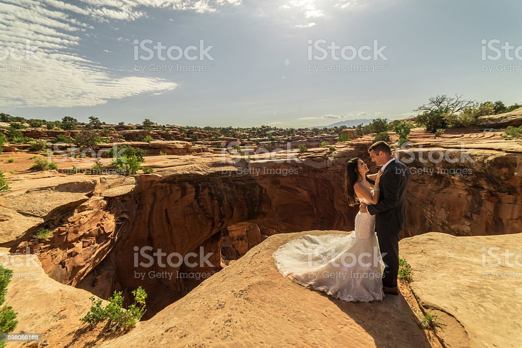 Wedding Photography - Bride & Groom in Utah desert, Moab. stock photo