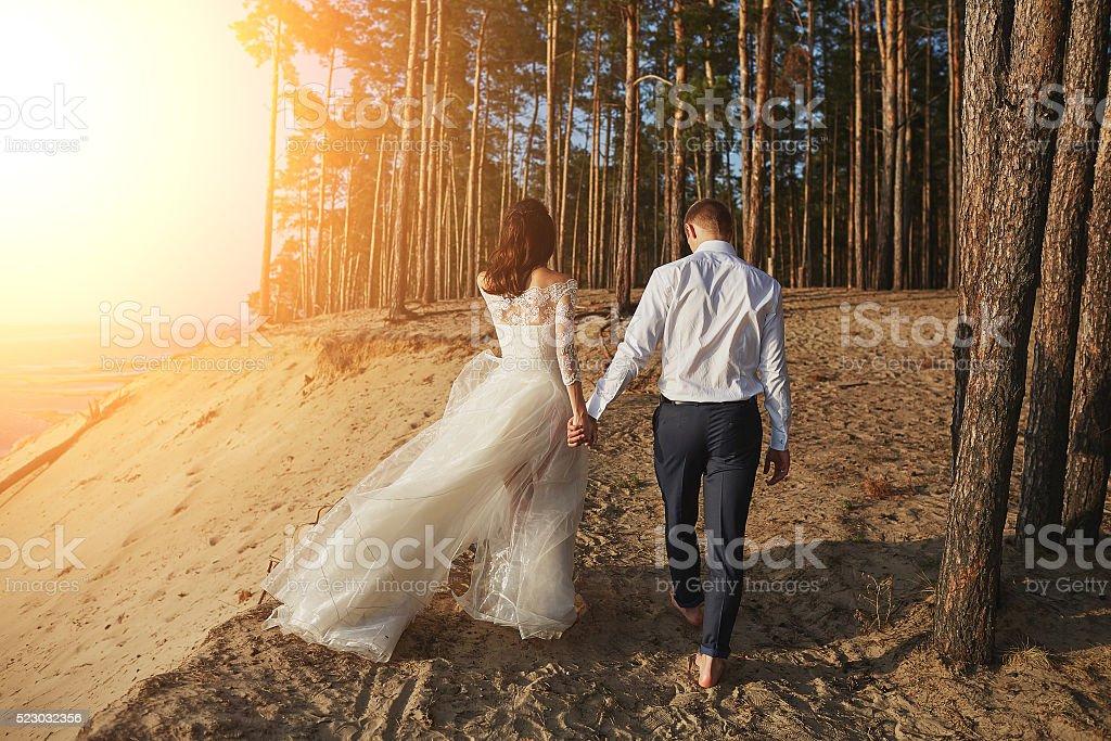 wedding photosession on the beach stock photo