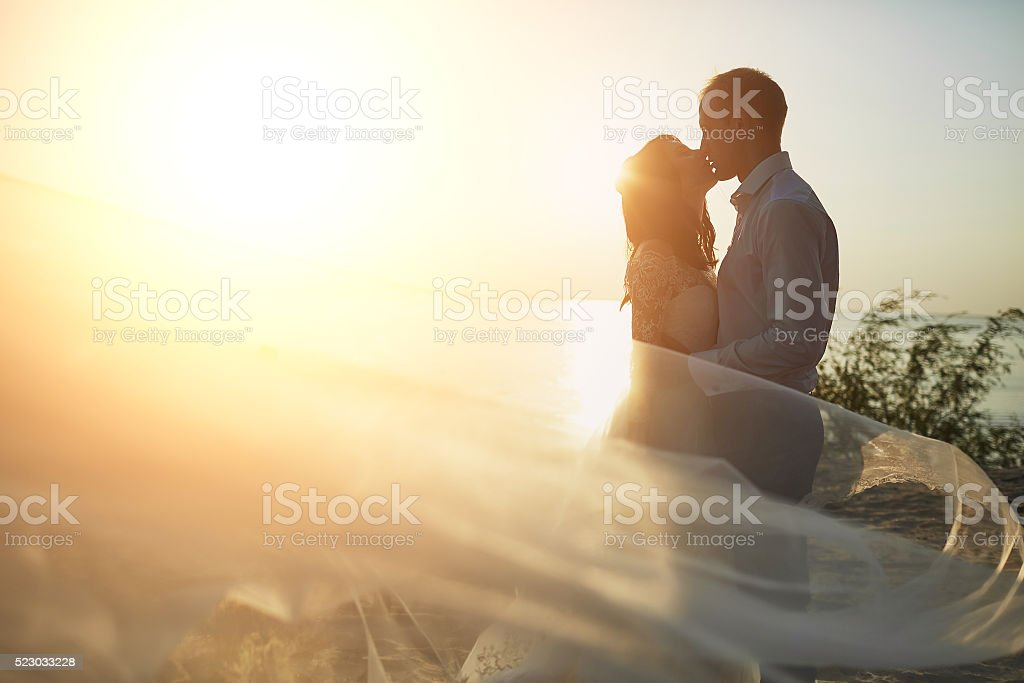 wedding photosession on the beach stock photo