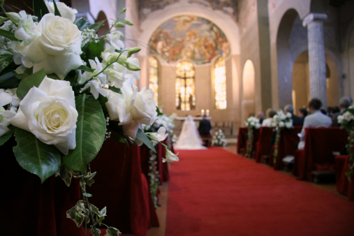 wedding day in a medieval church. Rome Italy